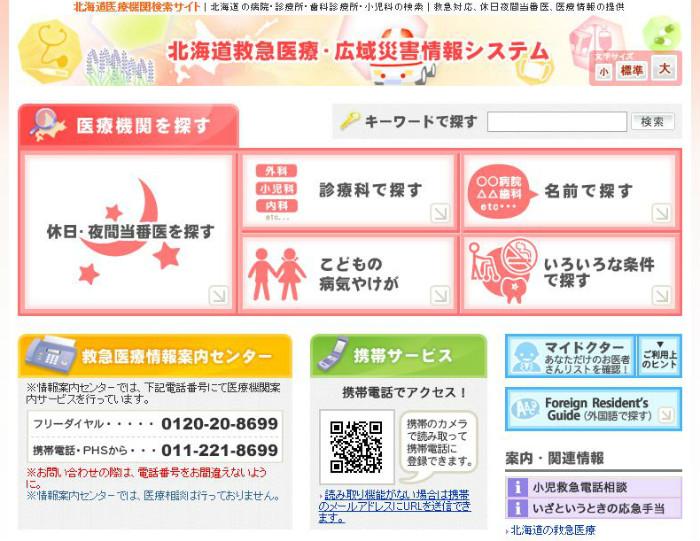 病院休日診療診察救急医療情報システム都道府県市町村1